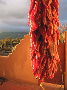 Picture of a string of dried chiles, a chile ristra, with an adobe wall in the background