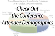 "Blurred pie chart with the words ""Check Out the Conference Attendee Demographics"""